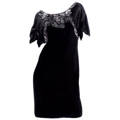 Alberta Ferretti Black Velvet Evening Dress With Sequins and Beads
