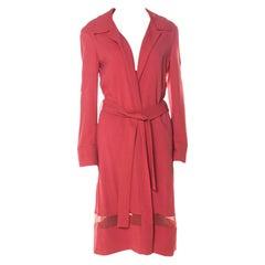 Alberta Ferretti Coral Pink Sheer Panel Insert Belted Long Coat M