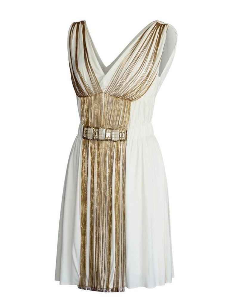 Beige Alberta Ferretti Dress Fine Chain Rich Stone Detail  40 / 4 nwt For Sale