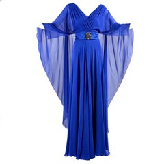 Alberta Ferretti Blue Silk Chiffon with Mini Train and Beaded Belt and Cape