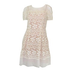 Alberta Ferretti Embroidered Organza A-Line Dress with Flower Motif