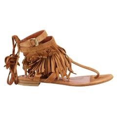 Alberta Ferretti Fringed Suede Sandals