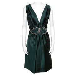 Alberta Ferretti Green Crystal Embellished Waist Detail Sleeveless Dress M