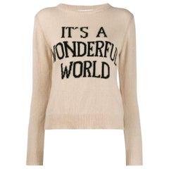 Alberta Ferretti Intarsia Cashmere Blend Sweater