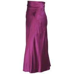 Alberta Ferretti Intricately Seamed Sexy High Waisted Purple Silk Skirt