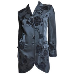 Alberta Ferretti Long Rose Flocked Silk Jacket