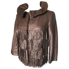 Alberta Ferretti Metallic Fringe Leather Jacket