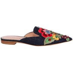 ALBERTA FERRETTI multicolor FLOWER EMBROIDERED Denim Slides Mules Shoes 38