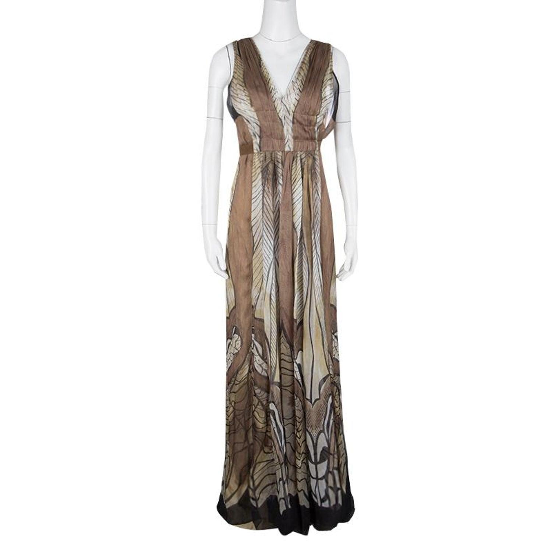 5ddf94de38f Alberta Ferretti Multicolor Printed Crepe Silk Sleeveless Belted Maxi Dress  M For Sale at 1stdibs