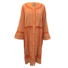 Alberta Ferretti Orange Suede & Crochet Coat IT 42