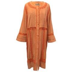 Alberta Ferretti Orange Suede & Crochet Coat - Size US 6