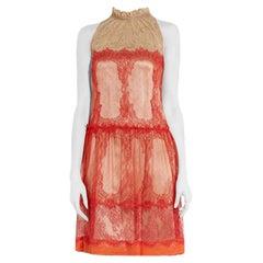 Alberta Ferretti Papaya-red Lace Dress US 6