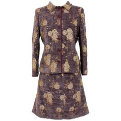 Alberta Ferretti Purple Beige Flared Damask Floral Suit Skirt and Jacket
