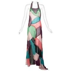 Alberta Ferretti Silk Chiffon Patchwork Open back Halter Gown, 2005