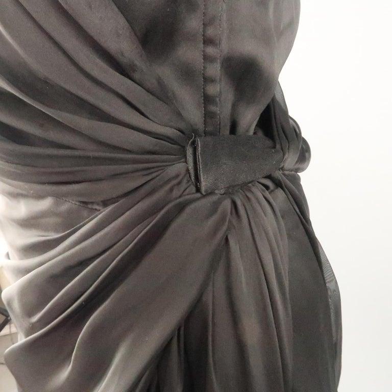 8e84c8692f6 ALBERTA FERRETTI Size 4 Black Silk Draped Overlay Shift Cocktail Dress For  Sale 1