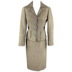 ALBERTA FERRETTI Size 6 Black & Beige Woven Wool Pencil Skirt Suit
