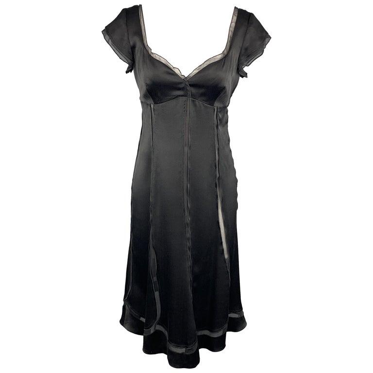c6525c7b9b ALBERTA FERRETTI Size 6 Black Silk Sheer Panel Cocktail Dress For Sale