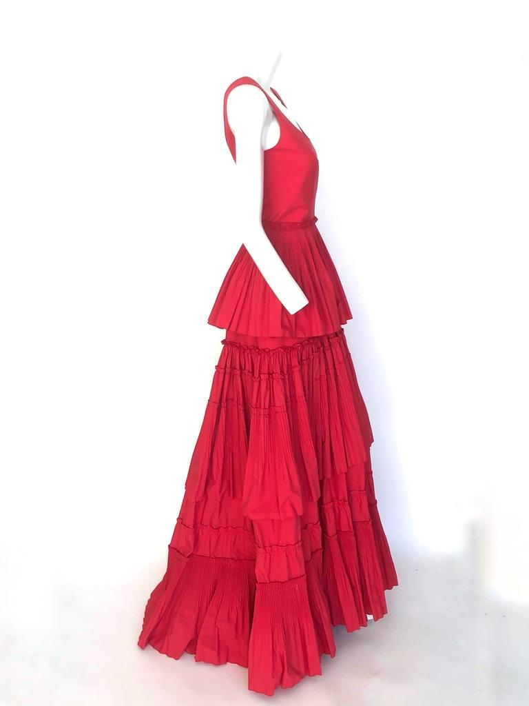 Red Alberta Ferretti tiered skirt red gown For Sale