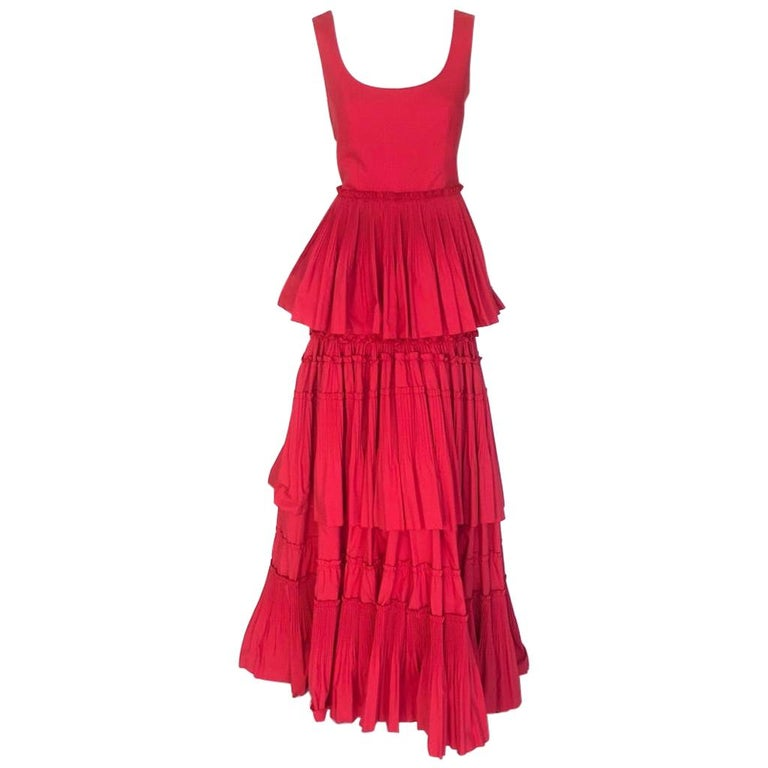 Alberta Ferretti tiered skirt red gown For Sale