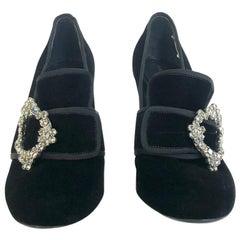 Alberta Ferretti velvet loafer booties
