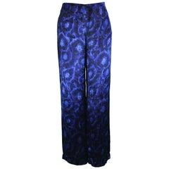 Alberta Ferretti Vintage Blue Velvet Wide Leg Evening Pants, 1990s