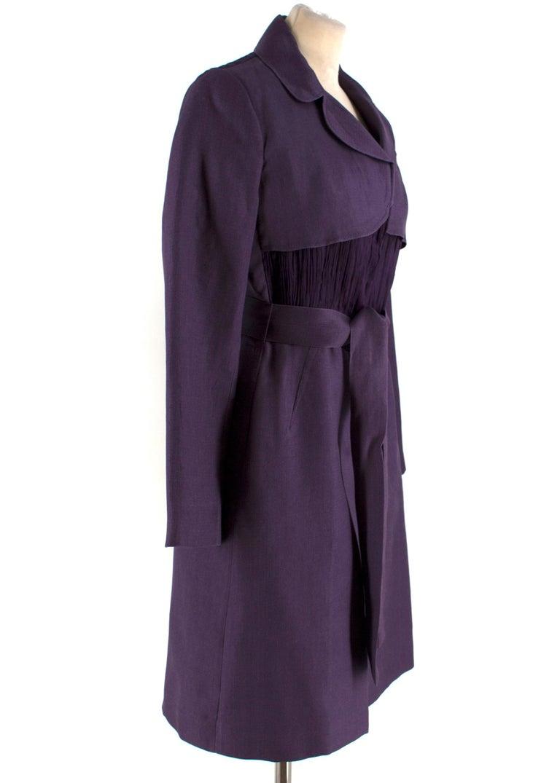 Alberta Ferretti vintage purple belted silk jacket   - Purple, lightweight raw woven silk - Notch lapels, long sleeves, lightly padded shoulders - Purple pleated organza waist and back panel - Seam slip pockets - Match waist tie  - Centre-front