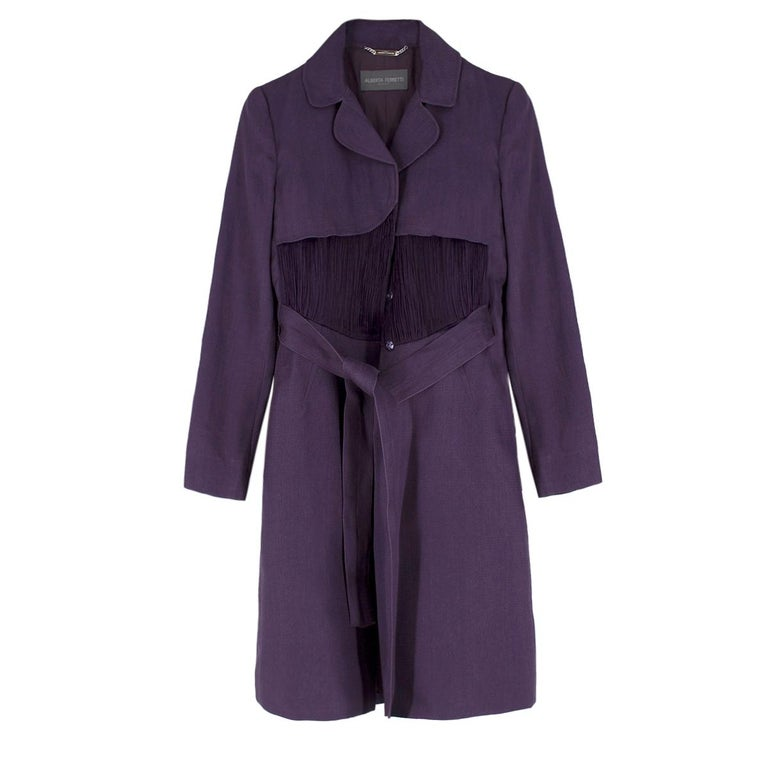 Alberta Ferretti vintage purple belted silk jacket  US 8 In Excellent Condition For Sale In London, GB