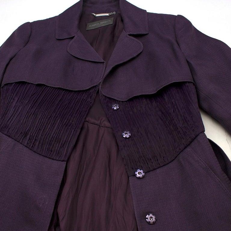 Women's Alberta Ferretti vintage purple belted silk jacket  US 8 For Sale