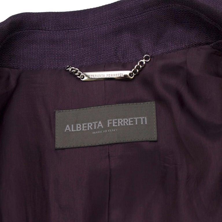 Alberta Ferretti vintage purple belted silk jacket  US 8 For Sale 2