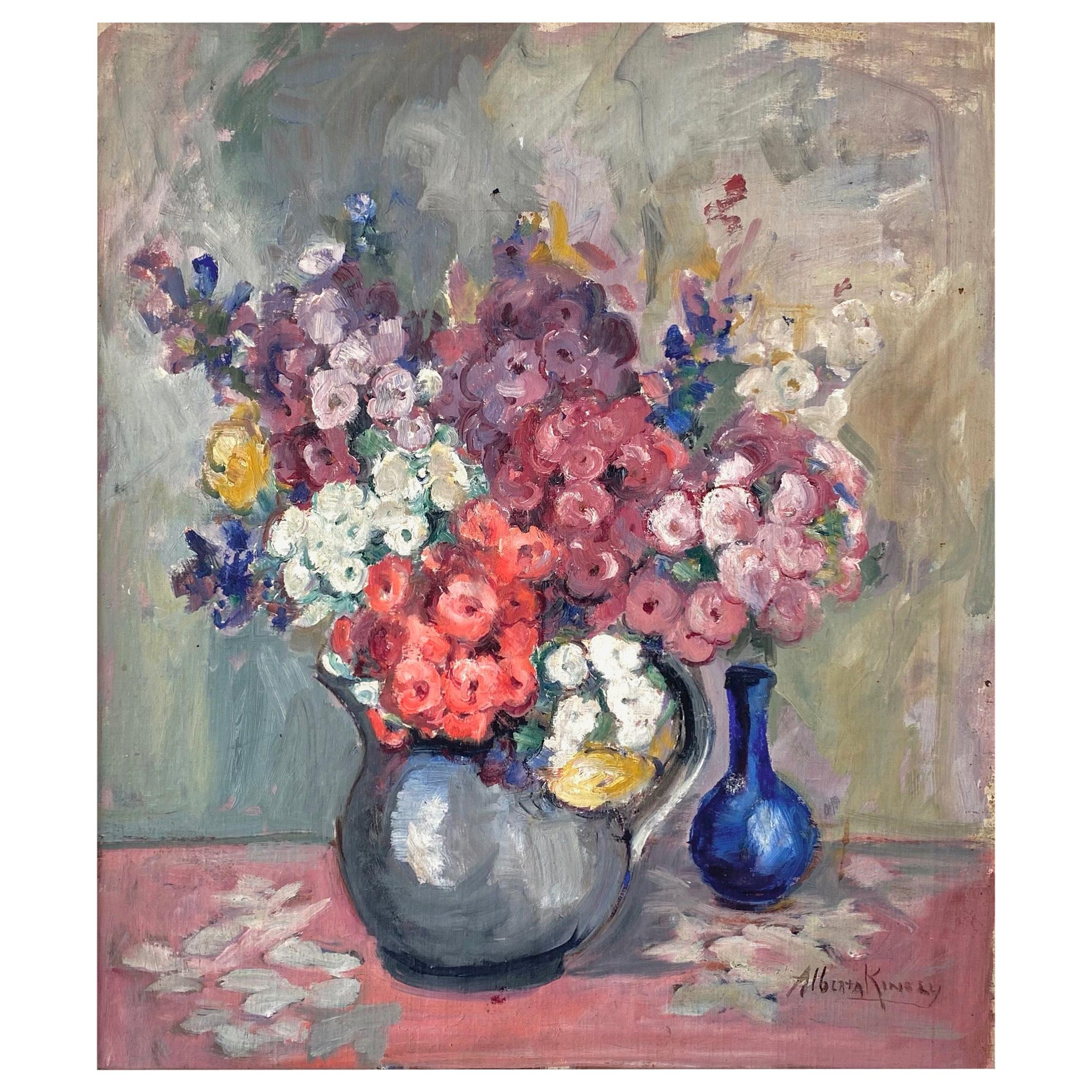 """Alberta Kinsey """"Still Life with Flowers"""" Impressionist Oil Painting, 1920s"""