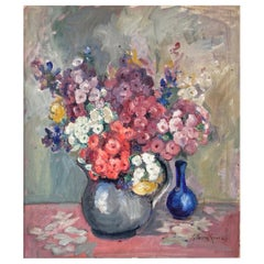 "Alberta Kinsey ""Still Life with Flowers"" Impressionist Oil Painting, 1920s"