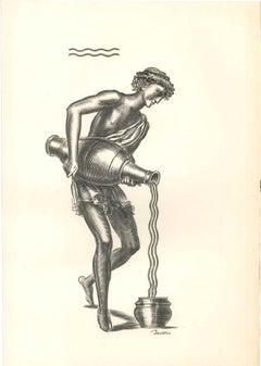 Aquarius - Original Etching by Albert Decaris - Mid 20th century