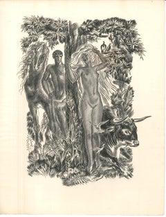 Le Paradis - Original Etching by Albert Decaris - Mid 20th century