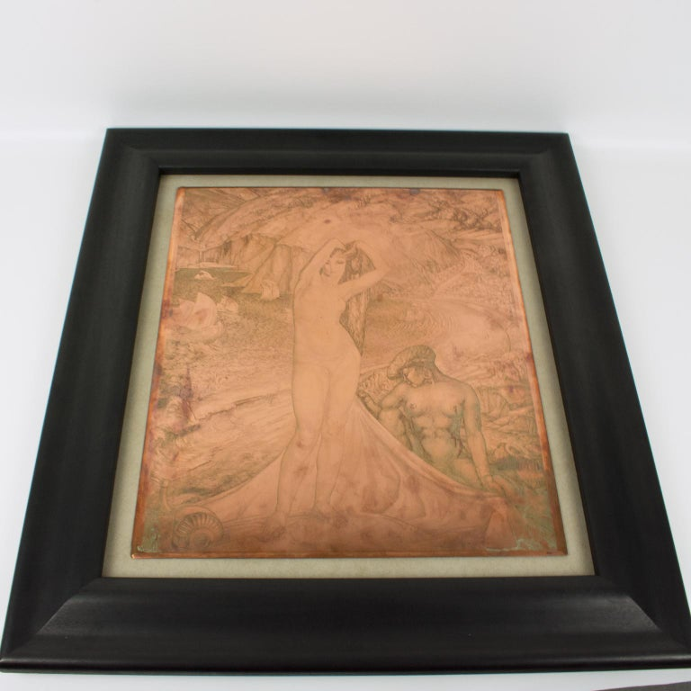 Venus and her Maid Engraving Copper Plaque by Albert Decaris For Sale 14