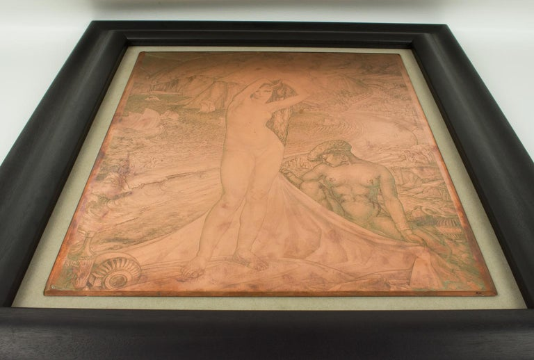 Venus and her Maid Engraving Copper Plaque by Albert Decaris For Sale 4