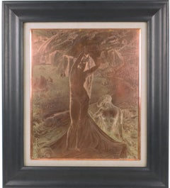Venus and her Maid Engraving Copper Plaque by Albert Decaris
