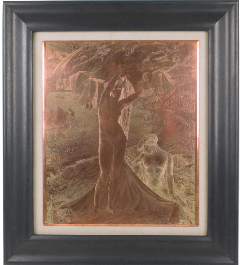 Venus and her Maid Engraving Copper Plaque by Albert Decaris For Sale 13