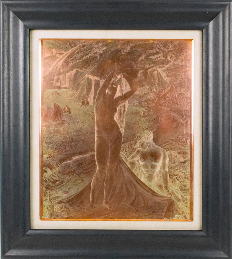 Exceptionally rare, an authentic copper plaque for etchings designed by Albert Decaris (1901 - 1988). This very finely carved plaque features Venus and her maid. The details of the background show a very lush tropical landscape with a sea bay,