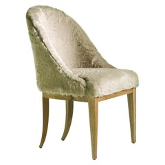 Albertine Chair in Walnut Covered with Beige Faux Fur