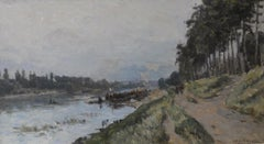 French Impressionist Landscape by Albert Lebourg 'Along the River'