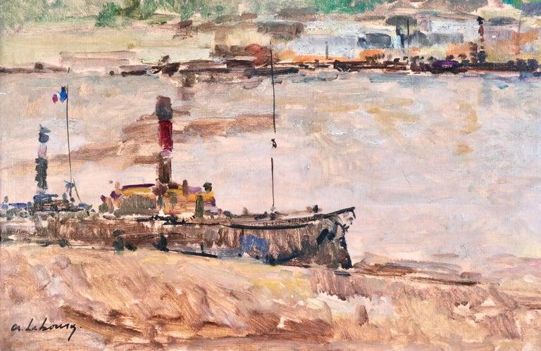Near Rouen - River Seine - 19th Century Oil Boats in Riverscape - Albert Lebourg For Sale 7