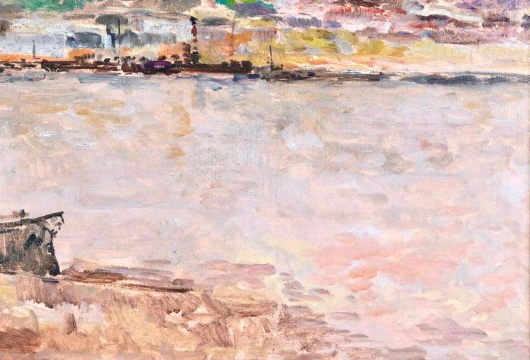 Near Rouen - River Seine - 19th Century Oil Boats in Riverscape - Albert Lebourg For Sale 8