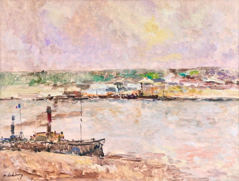Near Rouen - River Seine - 19th Century Oil Boats in Riverscape - Albert Lebourg - Impressionist Painting by Albert Lebourg