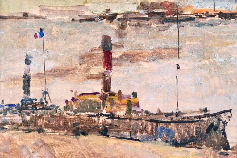 Near Rouen - River Seine - 19th Century Oil Boats in Riverscape - Albert Lebourg For Sale 1