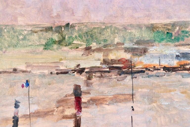 Near Rouen - River Seine - 19th Century Oil Boats in Riverscape - Albert Lebourg For Sale 2