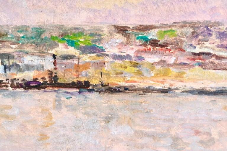 Near Rouen - River Seine - 19th Century Oil Boats in Riverscape - Albert Lebourg For Sale 3