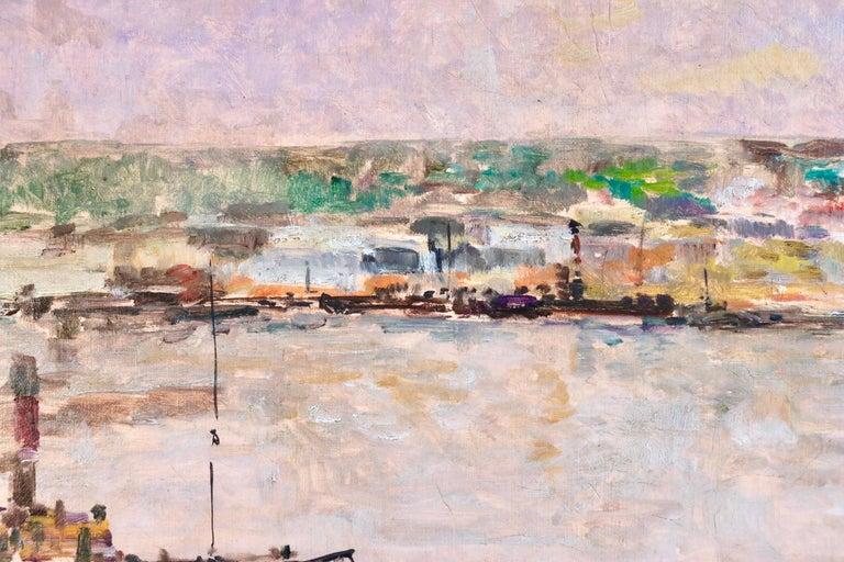 Near Rouen - River Seine - 19th Century Oil Boats in Riverscape - Albert Lebourg For Sale 4
