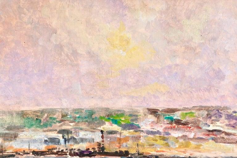 Near Rouen - River Seine - 19th Century Oil Boats in Riverscape - Albert Lebourg For Sale 5