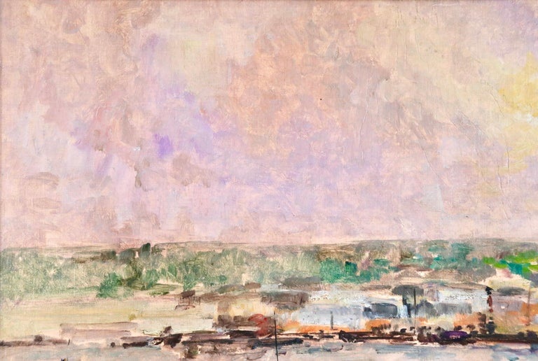Near Rouen - River Seine - 19th Century Oil Boats in Riverscape - Albert Lebourg For Sale 6