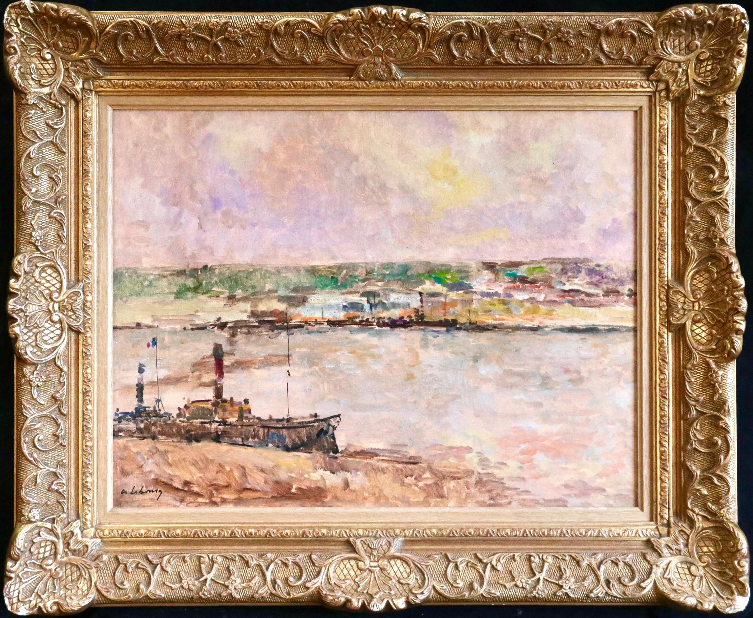 Near Rouen - River Seine - 19th Century Oil Boats in Riverscape - Albert Lebourg